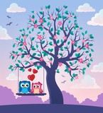 Tree with Valentine owls theme 2