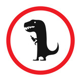 Vector funny road sign for bar or night club. Drunken dinosaur with bottle. Red attention signs. Flat design.