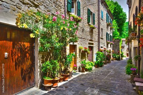 Fototapeta Italian street in a small provincial town of Tuscan