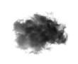 Black clouds or smoke on a white background