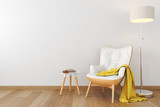 Fototapety White leather wood armchair in empty room.