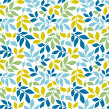 Seamless background with leaves. Geometric ornament. Bright summer pattern. Use for wallpaper, printing on the packaging paper, textiles.