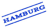 Hamburg watermark stamp. Text caption between parallel lines with grunge design style. Rotated rubber seal stamp with dirty texture. Vector blue ink imprint on a white background.