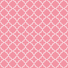 Traditional quatrefoil lattice pattern outline. Pink quatrefoil background. Vector illustration.