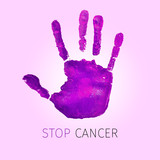 violet handprint and text stop cancer