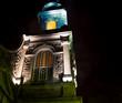 church tower at night