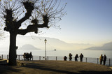 Como Lake winter promenade. Color image