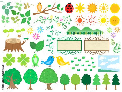 森の手書きイラスト素材セット