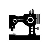 monochrome silhouette sewing machine icon vector illustration