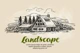 Rural landscape sketch. Farm, country house, cottage vector illustration