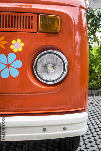 Old red vintage van - 135590900