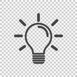Light bulb icon in isolated background. Idea flat vector illustration. Icons for design, website.