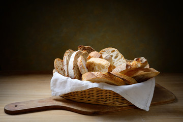 Basket of assorted bread slices