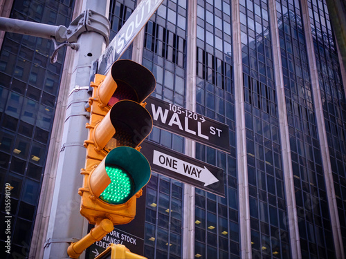View on Wall street yellow traffic light with black and white Wall street, One way pointer guides Poster