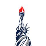 Liberty statue monument vector silhouette USA New York Patriotic - 135598523