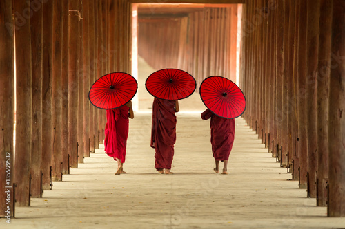 Tree novice monks walking in the pagoda temple,Mandalay,Myanmar. Poster