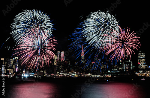 Poster Celebrate Chinese New Year Fireworks In Hudson River New York with Empire State