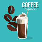 delicious coffee always fresh poster vector illustration design