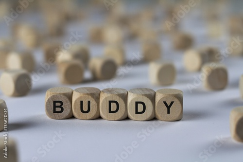 buddy - cube with letters, sign with wooden cubes Plakat