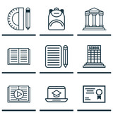 Set Of 9 Education Icons. Includes Home Work, Haversack, Distance Learning And Other Symbols. Beautiful Design Elements.