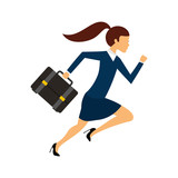 businesswoman running character isolated icon vector illustration design