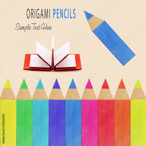 Poster Origami pencils isolated