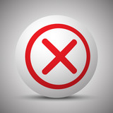 Red Cancel icon on white sphere