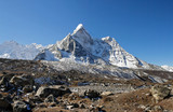 Panorama of the himalayan peaks Ama Dablam and Taboche - Nepal
