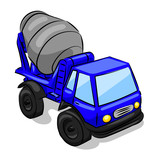 big blue and grey concrete mixer truck isolated