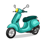 moped motorbike isolated at the white background