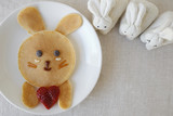 Bunny pancake breakfast, fun food art for kids