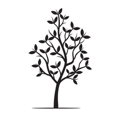 Black Tree and Leafs. Vector Illustration.
