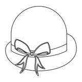 silhouette lace bowler hat with bow retro design vector illustration