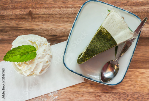 Poster Green tea cake and whipping cream on table