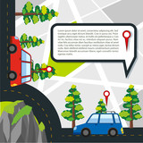 Road with cars and location details