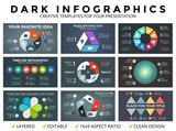 Vector circle arrows infographic, cycle diagram, graph, presentation chart template. Business concept with 3, 4, 5, 6, 7, 8 options, parts, steps, processes. Dark background.