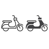 Scooter line and solid icon, outline and filled vector sign, linear and full pictogram isolated on white. Moped symbol, logo illustration