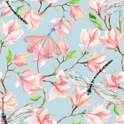 Fototapeta watercolor magnolia branches and dragonfly