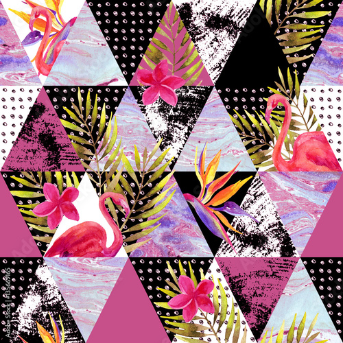 Abstract grunge and marble triangles with tropical flowers, leaves - 135669165