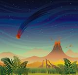 Prehistoric landscape. Volcano, dinosaurs and meteorite.