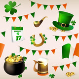 Seamless pattern of illustrations for celebrating St. Patricks Day. Leprechaun hat, pot of gold, clover and flag.