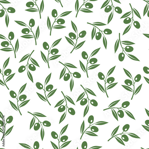Fototapeta Olive tree branches texture. Vector olives seamless background for oil package