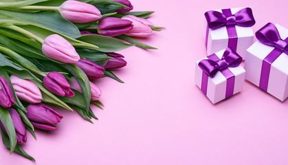 Spring tulips and gifts with satin bows