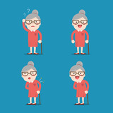 Old lady. Grandma in 4 Different Poses.