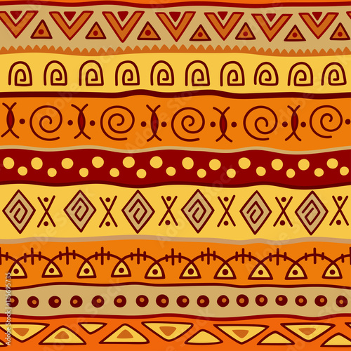 Seamless color pattern in ethnic style. Ornamental element African theme. Set of seamless vintage decorative tribal border. Traditional African pattern background with tribal elements form. © Katikam