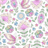 Vector seamless pattern with leaves and flowers, butterfly. Floral cute abstract doodle print.