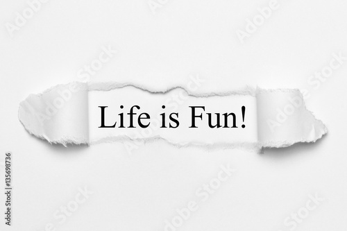 Life is Fun! on white torn paper