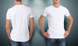 Shirt design and people concept - close up of young man in blank white t-shirt isolated. - 135701709