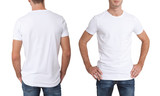 Shirt design and people concept - close up of young man in blank white t-shirt isolated. - 135701710