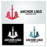Anchor logo design template, Fish logo design concept, Vector illustration